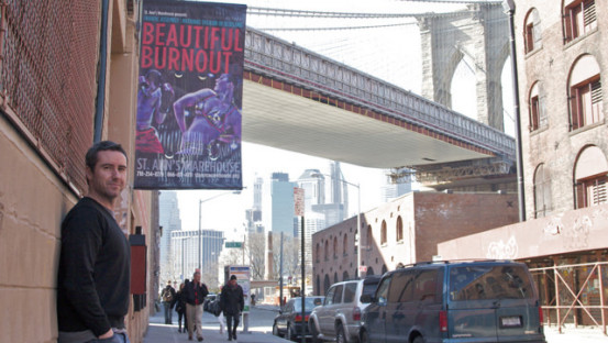 Scott Graham stands outside the venue for Beautiful Burnout in New York